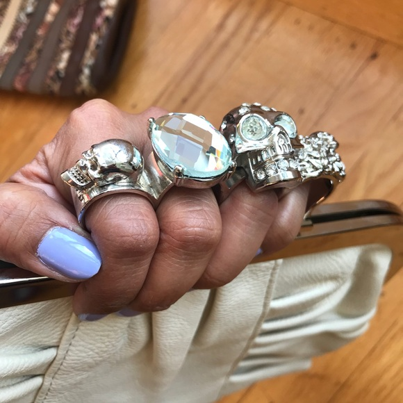 Love Stitch Bags Brass Knuckles Bling Skull Clutch Whitesilver
